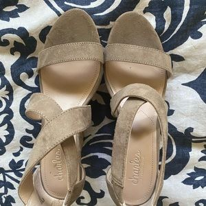 Leather/suede cork wedge NEW